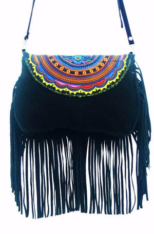 """Dakota Fringe"" - Midnight Black Suede Crossbody Bag Bags"