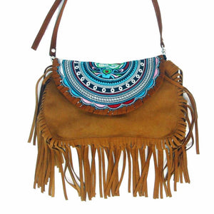 """Dakota Fringe"" - Rustic Brown Suede Crossbody Bag Bags"