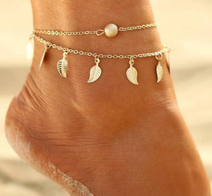 Double Layer Chain Anklet with Leaves Charms Anklets