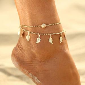 Double Layer Chain Anklet with Leaves Charms BJCS24851 Anklets