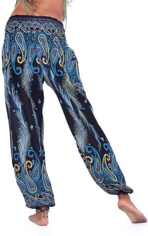 Electric Blue Peacock Pants Harem Pants