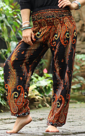 Electric Orange Peacock Pants Harem Pants