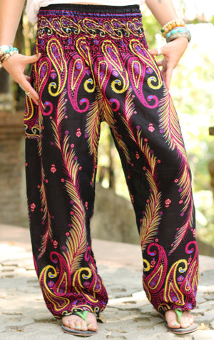 Electric Pink Peacock Pants Harem Pants