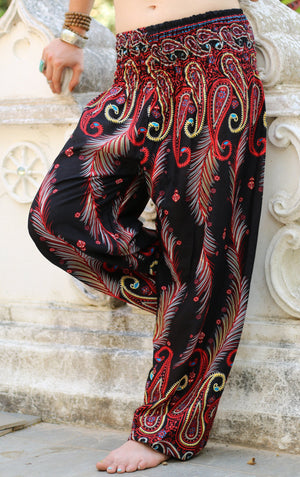 Electric Red Peacock Pants Harem Pants