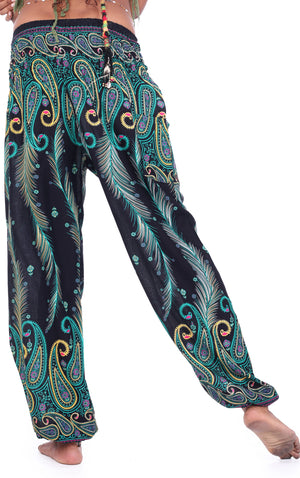 Electric Teal Peacock Pants Harem Pants
