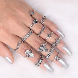 Elephant & Hamsa Boho Ring Set