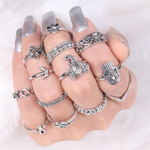 Elephant & Hamsa Boho Ring Set RJDY45128