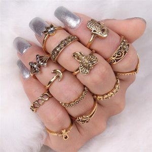 Elephant & Hamsa Boho Ring Set RJDY45155