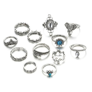 Elephant & Leaf Wreath Boho Ring Set silver Anillos