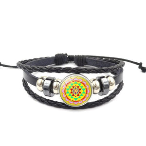 Fashion Vintage Sri Yantra Bracelet Men Women Braided Leather Weave Handmade Rope Charm Bracelets & Bangles Charm Bracelets