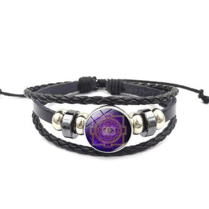 Fashion Vintage Sri Yantra Bracelet Men Women Braided Leather Weave Handmade Rope Charm Bracelets & Bangles style 2 Charm Bracelets