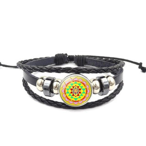 Fashion Vintage Sri Yantra Bracelet Men Women Braided Leather Weave Handmade Rope Charm Bracelets & Bangles style10 Charm Bracelets