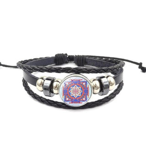 Fashion Vintage Sri Yantra Bracelet Men Women Braided Leather Weave Handmade Rope Charm Bracelets & Bangles style12 Charm Bracelets