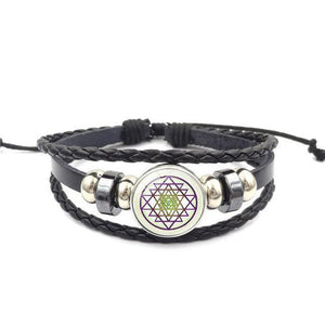 Fashion Vintage Sri Yantra Bracelet Men Women Braided Leather Weave Handmade Rope Charm Bracelets & Bangles style3 Charm Bracelets