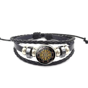 Fashion Vintage Sri Yantra Bracelet Men Women Braided Leather Weave Handmade Rope Charm Bracelets & Bangles style6 Charm Bracelets