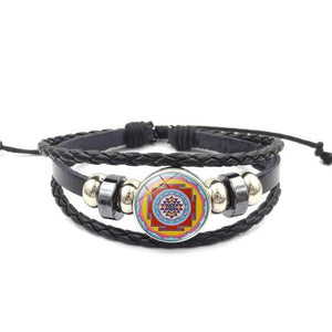 Fashion Vintage Sri Yantra Bracelet Men Women Braided Leather Weave Handmade Rope Charm Bracelets & Bangles style7 Charm Bracelets