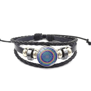 Fashion Vintage Sri Yantra Bracelet Men Women Braided Leather Weave Handmade Rope Charm Bracelets & Bangles style8 Charm Bracelets