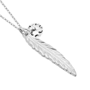 Feather Necklace, Silver Plated Feather and Birthstone Necklace, Elegant Necklace Women - Jewelry - Necklaces