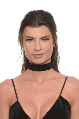 Finishing Touch Choker in Black Suede and Gold Women - Jewelry - Necklaces