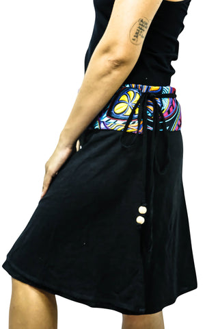 Floral Ibiza Black Wrap Skirt M / Black Women - Apparel - Skirts - Mini