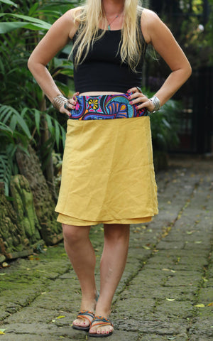 Floral Ibiza Yellow Wrap Skirt M / Yellow Women - Apparel - Skirts - Mini