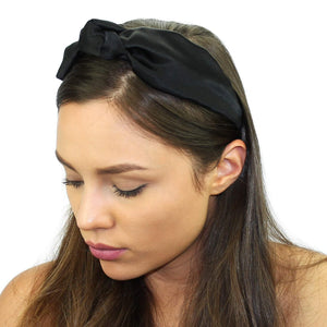 Floral Silk Top Knot Headband Black Women - Accessories - Hair Accessories
