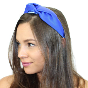 Floral Silk Top Knot Headband Cobalt Blue Women - Accessories - Hair Accessories