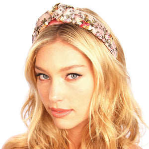 Floral Silk Top Knot Headband Rose Floral Women - Accessories - Hair Accessories