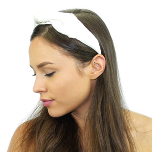 Floral Silk Top Knot Headband White Women - Accessories - Hair Accessories