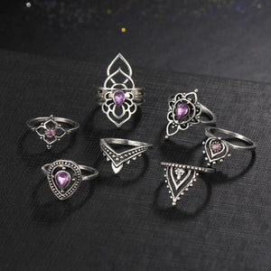 Flower Ring Set With Tibetan Rings - 7 pcs RJCS486 Rings