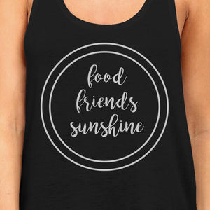Food Friends Sunshine Womens Black Graphic Tanks Letter Printed Top Women - Apparel - Shirts - Sleeveless