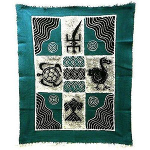 Four Creatures Batik in Blue/Black (GC) Tonga Textiles