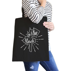 Go To The Beach Black Canvas Bags Women - Bags - Totes