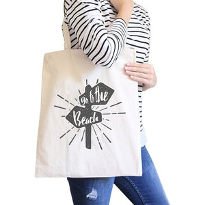 Go To The Beach Natural Canvas Bags Women - Bags - Totes