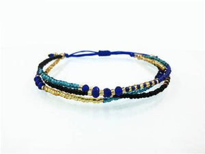Gold and Navy Blue Glass Beads Friendship Bracelet Gold Strand Bracelets