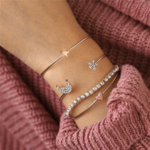 Gold and Silver Bangle Bracelets With Charms, Color metal - BJCS65251 Inicio