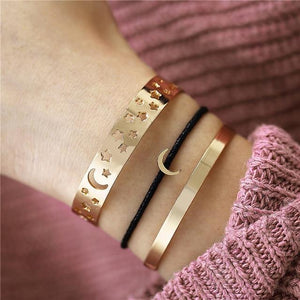 Gold and Silver Bangle Bracelets With Charms, Color metal - CS578251 Inicio