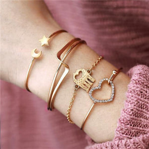 Gold and Silver Bangle Bracelets With Charms Gold Inicio