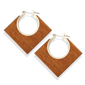 Gold & Brown Square Hollow Wooden Earrings Brown Pendientes de gotas