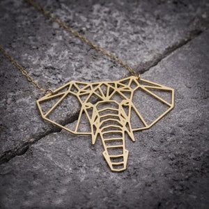 Gold Origami Elephant Necklace Gold Pendant Necklaces