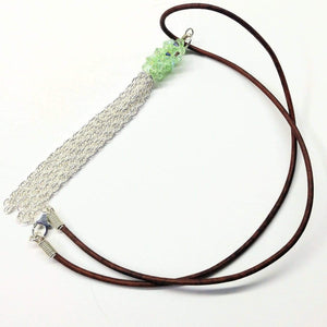 Green Crystal Barrel Silver Chain Tassel Leather Necklace Women - Jewelry - Necklaces