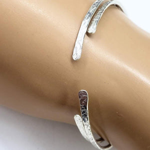 Hammered Silver Open Bangle Women - Jewelry - Cuffs