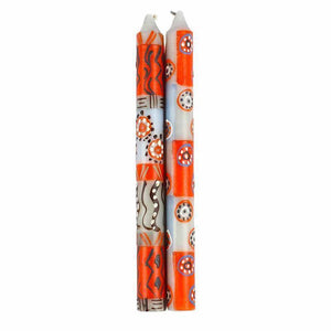 Hand Painted Candles in Kukomo Design (pair of tapers) (GC) Candles