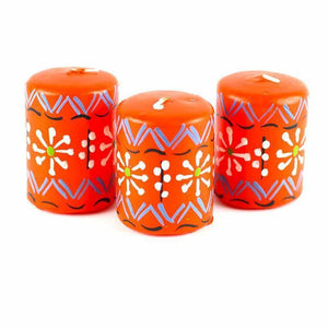 Hand Painted Candles in Orange Masika Design (box of three) Default Title Candles