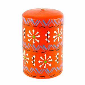 Hand Painted Candles in Orange Masika Design (pillar) Default Title Candles