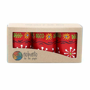 Hand Painted Candles in Red Masika Design (box of three) Default Title Candles