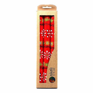 Hand Painted Candles in Red Masika Design (three tapers) Default Title Candles
