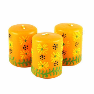 Hand Painted Candles in Yellow Masika Design (box of three) Default Title Candles