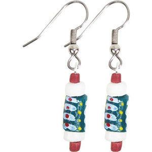 Hand Painted Earrings Teal (GC) Ghanaian Collection