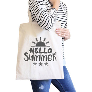 Hello Summer Sun Natural Canvas Bags Women - Bags - Totes